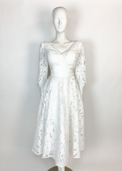 white laser cut lace a-line dress with v-neck