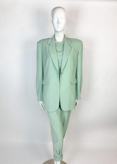 Sage green three piece oversized suit