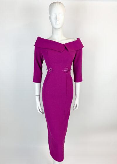 Magenta bardot pencil dress with oversized collar and matching beading at the waist