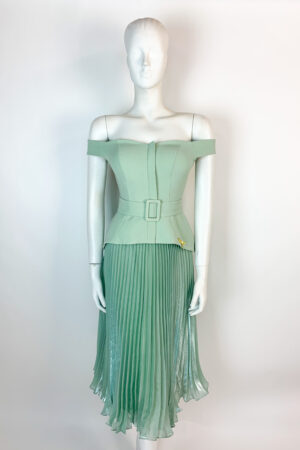 Sage green bardot peplum dress with belt detail and knife pleat shimmer skirt