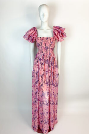 Pink ruffle shoulder floral maxi dress with square neck and shirred bodice
