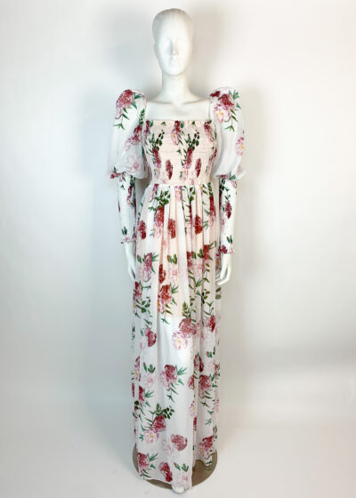 Long sleeved floral maxi dress with puff shoulder and shirred sleeve and bodice