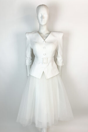 Ivory peplum top with matching tulle a-line skirt
