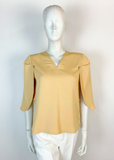 Gold v-neck blouse with tulip sleeves
