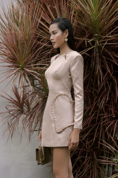 Dusty pink long sleeved mini dress with cutout and heart detailing