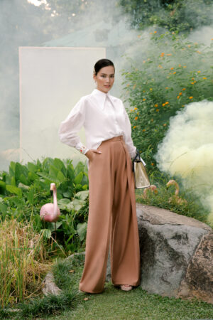 Brown Pleated Full Length Trousers
