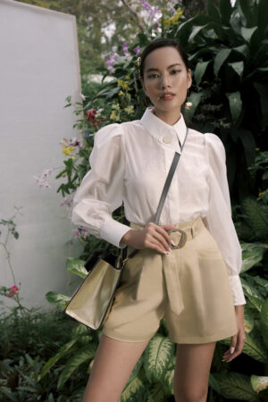 Ivory shimmer blouse with oversized asymmetric collar and balloon sleeve