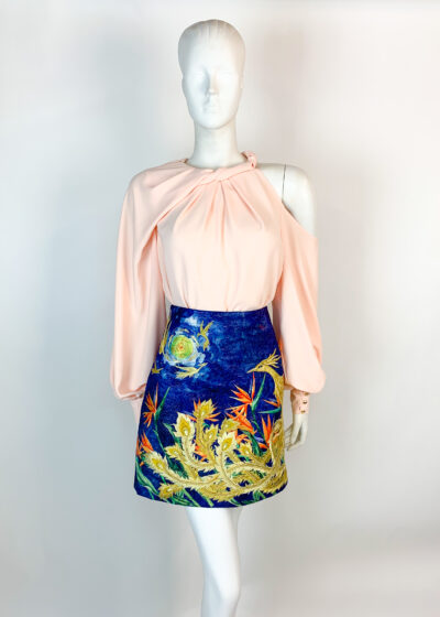 Peach cutout blouse with blue embroidered skirt