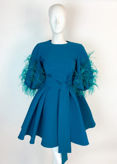 Teal a-line dress with puffy feathered sleeve