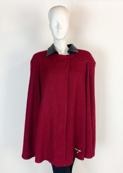 Maroon textured cape with faux leather collar