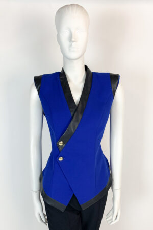 Cobalt blue waistcoat with faux leather and gold button detailing