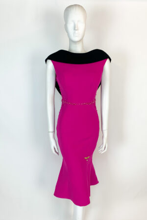 Cerise pink backless high-low fishtail dress with beaded waist and contrast cowl neck