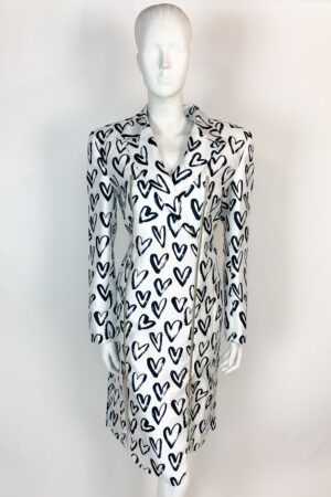 Black and white heart printed blazer dress with zip detailing