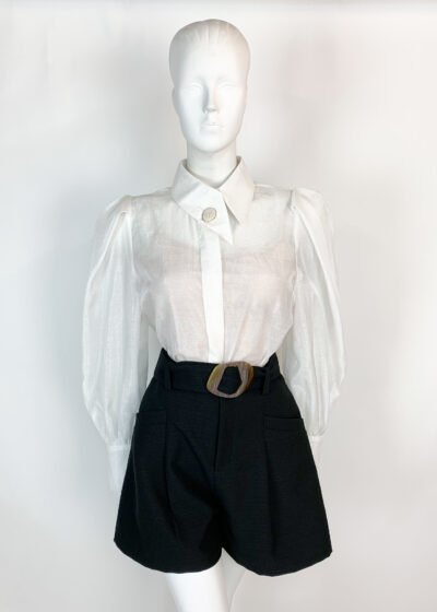 Black textured paper bag shorts with contrast oversized buckle