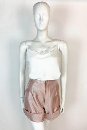 Dusty pink satin shorts