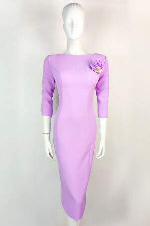 Lilac pencil dress with rose brooch detail