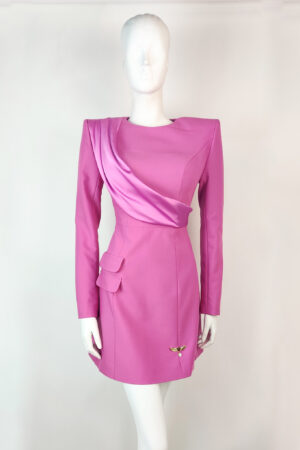 Dusty pink mini dress with satin sash and pocket detailing