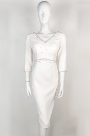 Ivory empire waist pencil dress with v-neck and back and pearl detailing