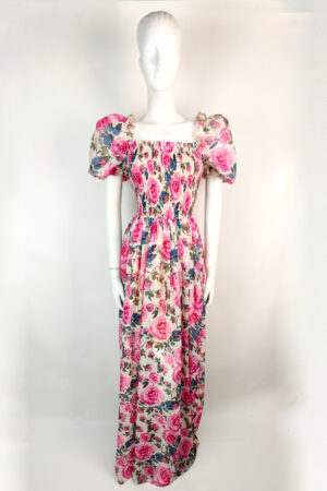 Floral maxi dress with puff sleeve and shirred bodice